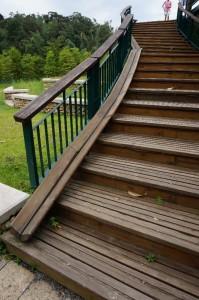 日月潭的單車徑旁的讓單車推上樓梯的斜道